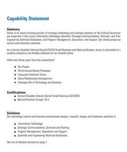 capability statement template word sle capability statement templates 14 documents in
