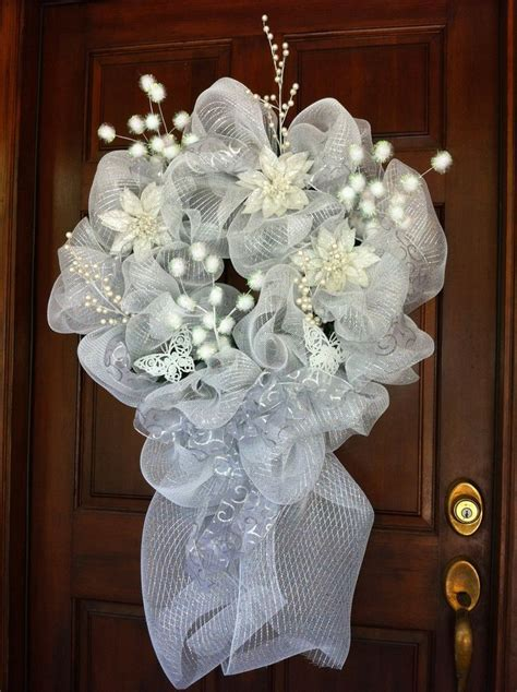 snow and ice white deco mesh wreath