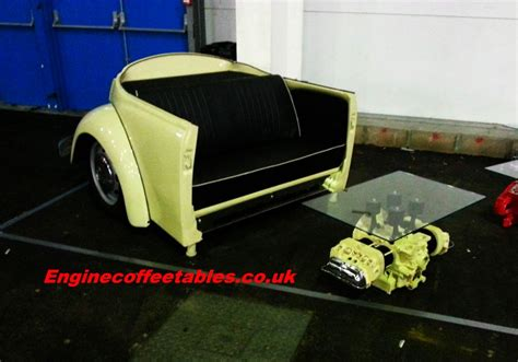 Designer makes sofa and coffee table using parts of VW Beetle   HomeCrux