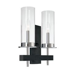 modern sconce wall light with clear glass in chrome/black