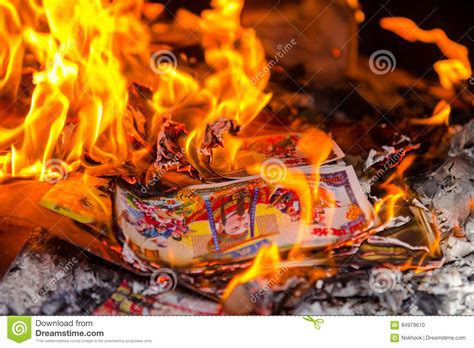 burning money on new year joss paper burning in during new year stock