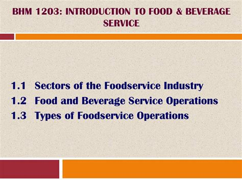 Food And Beverage Service Operational Preparation bhm 1203 introduction to food beverage service ppt