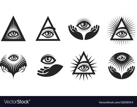 illuminati symbol eye all seeing eye icons set illuminati symbol vector image