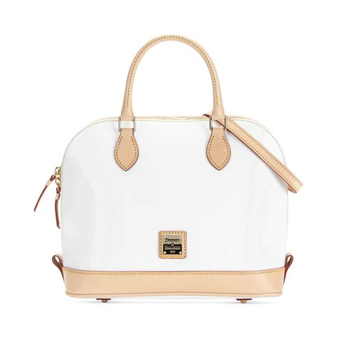 Dooney Bourke Dooney And Bourke by Dooney Bourke Patent Leather Zip Satchel In White Lyst