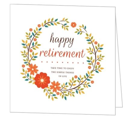 printable retirement images orange floral wreath happy retirement card greeting cards