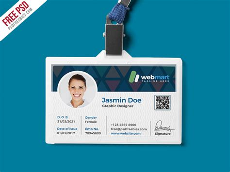 employee id card design template psd office id card design psd psdfreebies