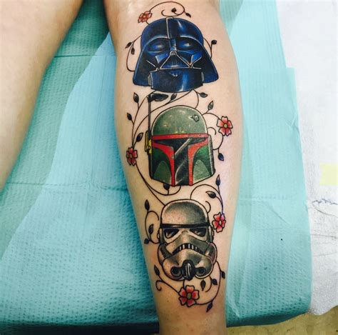 stormtrooper tattoo darth vader boba fett and stormtrooper done by