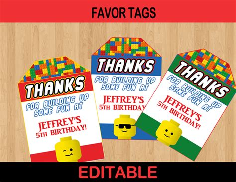 printable lego gift tags thank you for coming to my party stickers lego custom