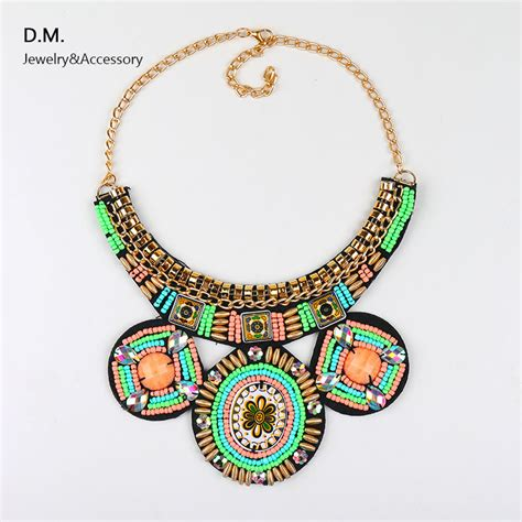 Handmade Beaded Jewelry Patterns - handmade embroidery bead necklace ethnic pattern beadwork