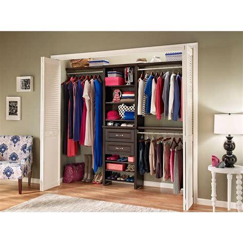 closetmaid closet kit closetmaid impressions 25 in w chocolate standard closet