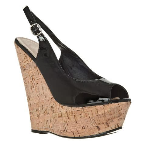 high heeled wedges high heel wedge open toe sling back shoe miss from