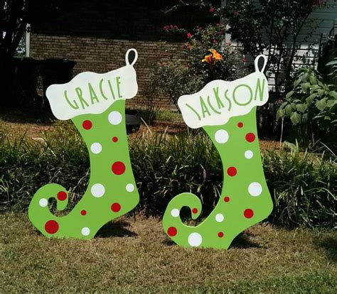 36 christmas stocking custom wood yard art by woodartandsuch