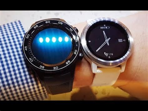 garmin vivoactive 3 vs huawei watch 2. close up hands on