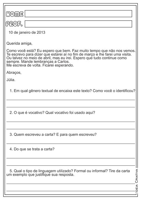 lipitipi atividades e projetos fundamental i g 234 nero textual carta formal e informal