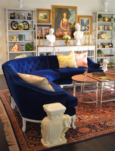 deep blue velvet sofa vintage blue velvet curved sofa from parker kennedy