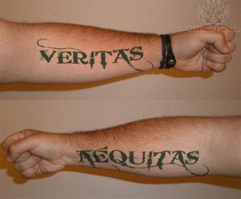 aequitas veritas tattoo veritas and aequitas on arms