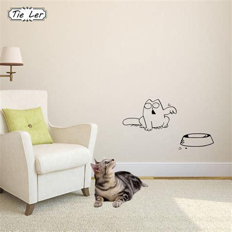 Sticker Wallpaper Dinding Sleeping Cat tie ler 4 pcs cat car laptop window wall sticker bowl cat decor stickers decals