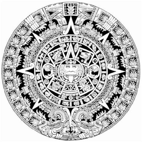 aztec calendar detailed coloring page from quot getvector