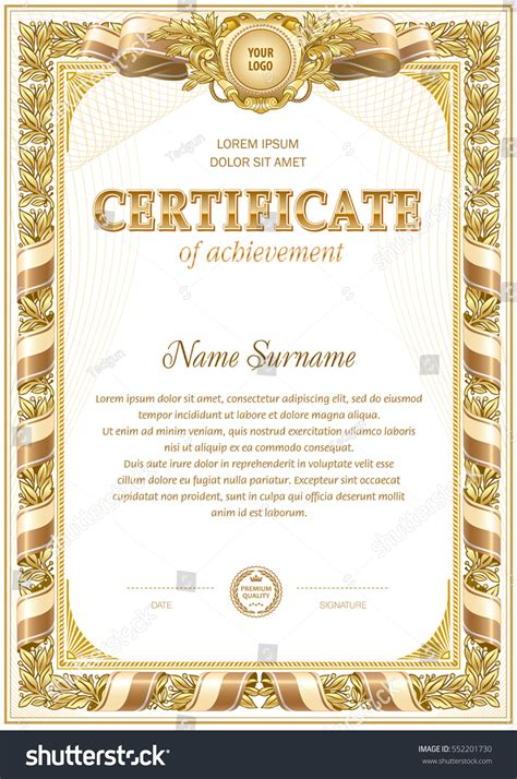 vintage certificate template hard frame border stock