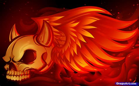 Drawing Flames by How To Draw A Fiery Skull Skull In Flames Step By Step