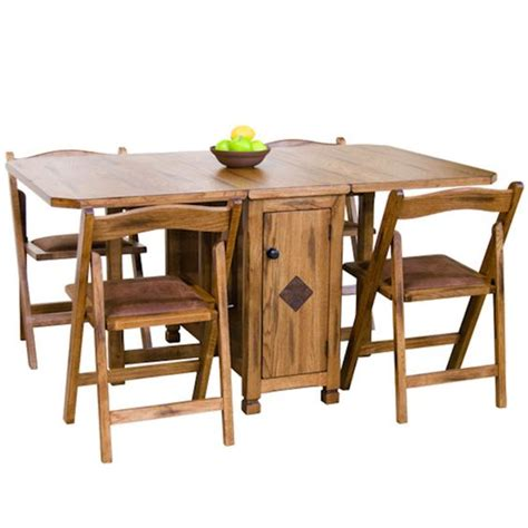 folding table and chairs set sedona rustic oak five dinette set drop leaf