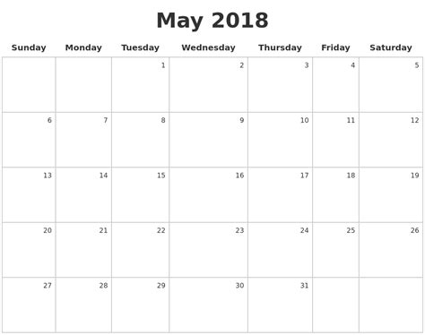 how to make a calendar 2018 may 2018 make a calendar