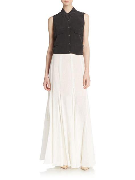 Lace Godet Maxi Skirt michael kors linen godet maxi skirt in white lyst