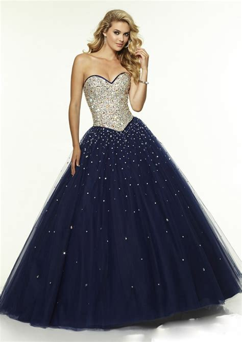 Navy Blue Ball Gown Prom Dress | new design lace up sweetheart navy blue elegant long