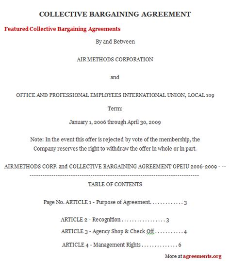 sample collective bargaining agreements employment agreements