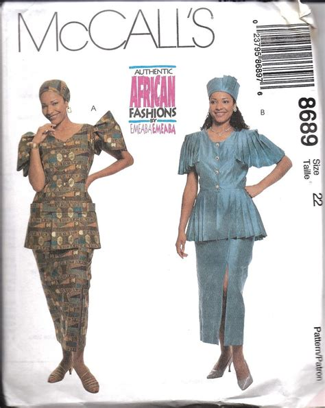 pattern african dress 8689 uncut vintage mccalls sewing pattern african two