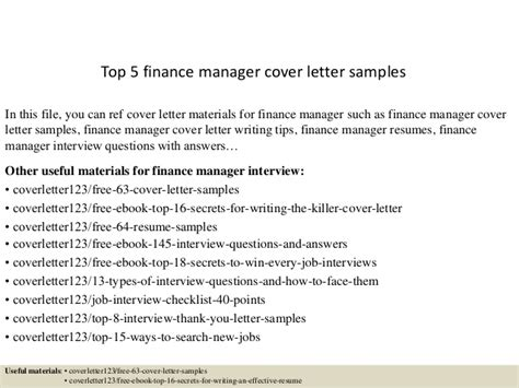 Finance Manager Cover Letter Sle Top 5 Finance Manager Cover Letter Sles