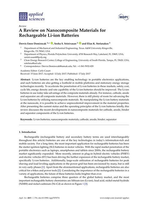 review  nanocomposite materials  rechargeable li ion batteries