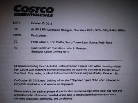 Dispute Letter To American Express Leaked Letter Regarding Costco Citi American Express Visa Partnerships Doctor Of Credit