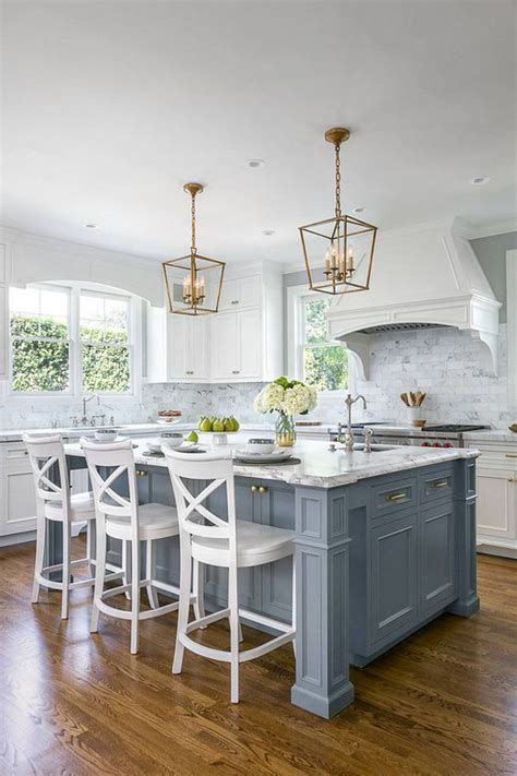 blue kitchen island 30 gorgeous blue kitchen decor ideas digsdigs