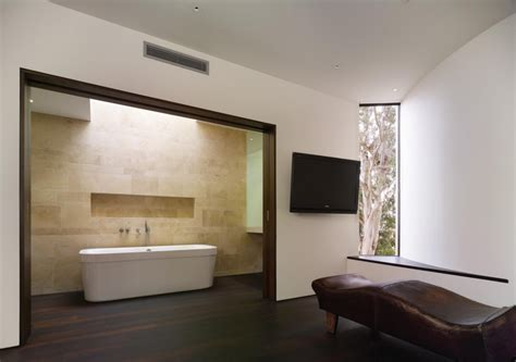 interior picture of tv wall color modern minimalist bathroom design with black laminate wood