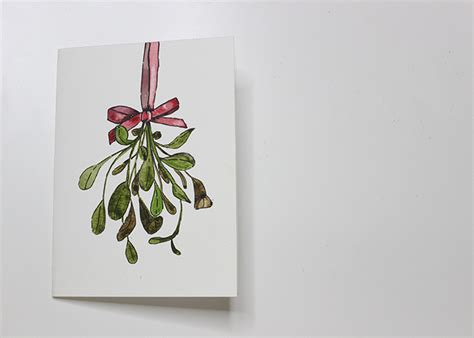 watercolor tutorial christmas paint with me mistletoe watercolour christmas card