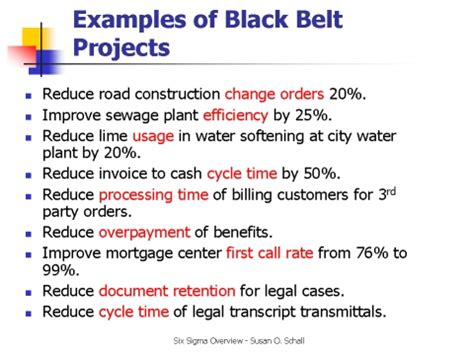 exles of black belt projects