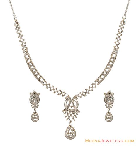white gold necklace and earring sets white gold