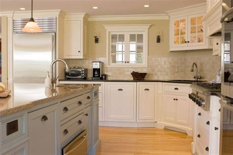 kitchens with white cabinets - antique white kitchen cabinets improving room coziness traba homes