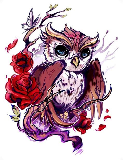 tattoo owl love love the owl and the roses i wouldn t necessarily get