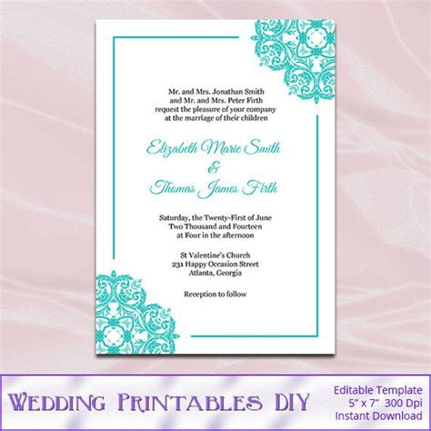 Invitation Card Template Docs by Blue Wedding Invitations Templates Diy Printable