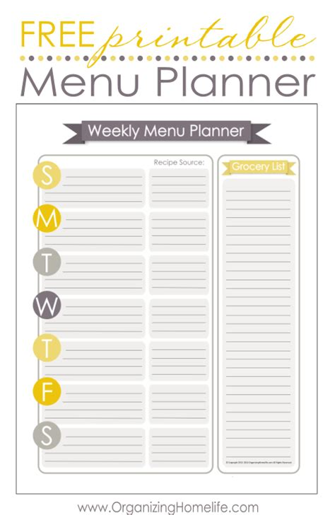 menu planning template free printable menu templates images