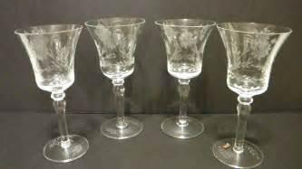 Stemware Wine Glasses Vintage Clear Etched Blown Wine Glasses