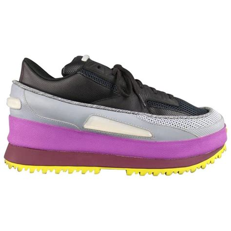 raf simons x adidas size 11 black gray purple and yellow platform sneakers at 1stdibs