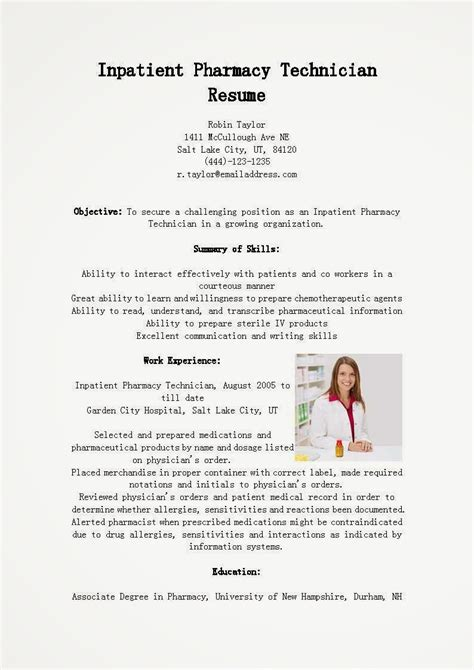 pharmacy technician resume template resume sles inpatient pharmacy technician resume sle
