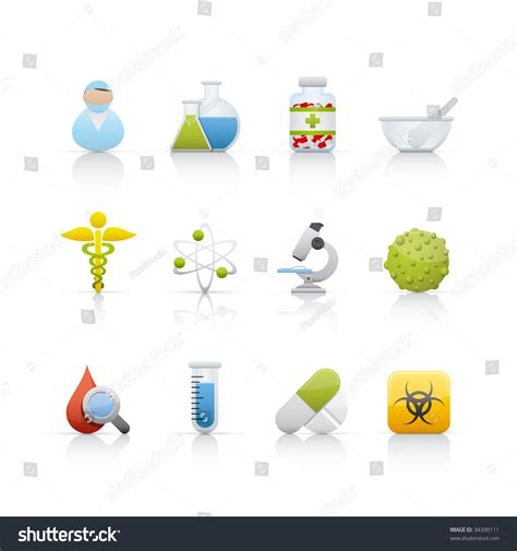 eps format adobe illustrator medical and pharmacy set of icons on white background in