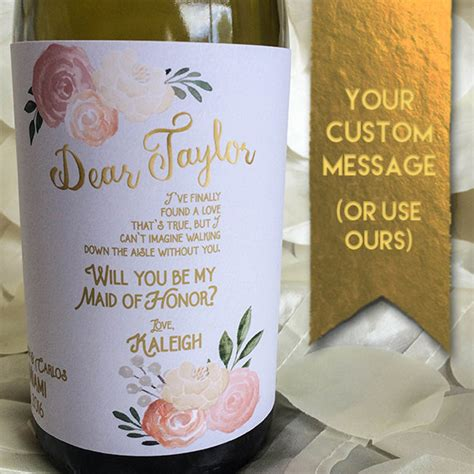 will you be my bridesmaid wine label template will you be my bridesmaid gift personalized bridesmaid