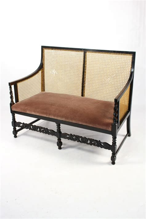 antique settee prices antique edwardian ebonised beech bergere cane sofa settee