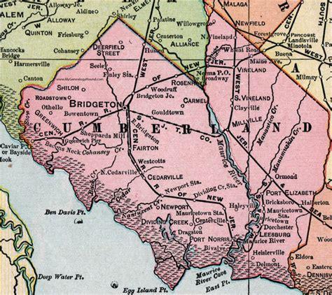 Cumberland County Search Cumberland County New Jersey 1905 Map Bridgeton Millville Vineland