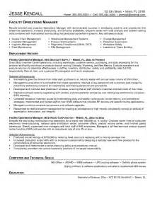 Facilities Operations Manager Sle Resume by Exle Facility Operations Manager Resume Free Sle